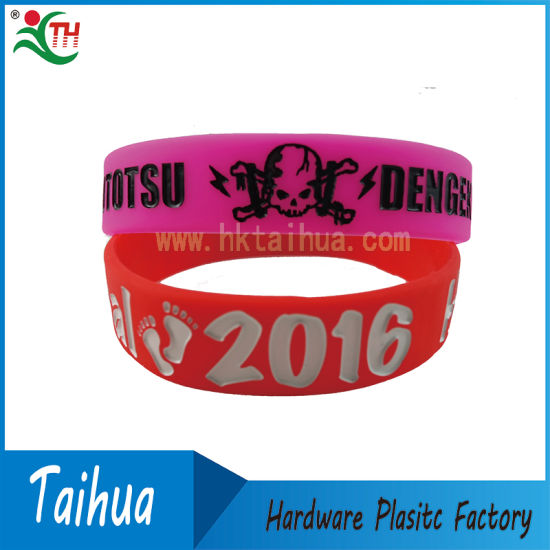 Printing One Inch Silicon Wristband with Promotion Item (TH-08939) pictures & photos