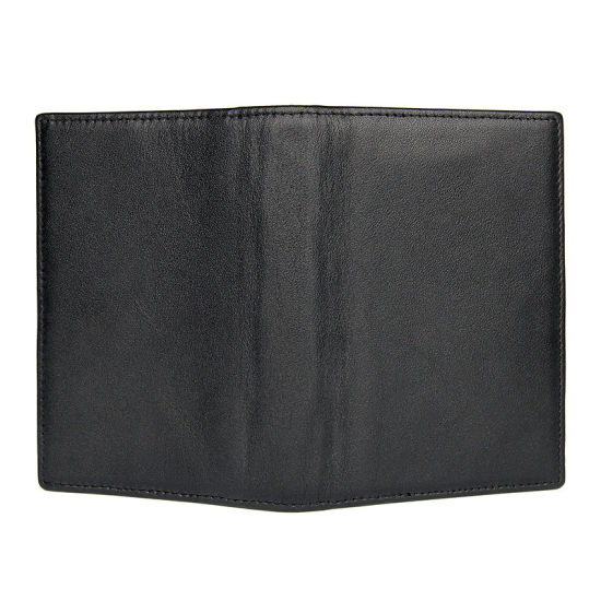 Factory Cheap Price Good Quality Full Grain Leather Travel Wallet Black Leather Passport Holder pictures & photos