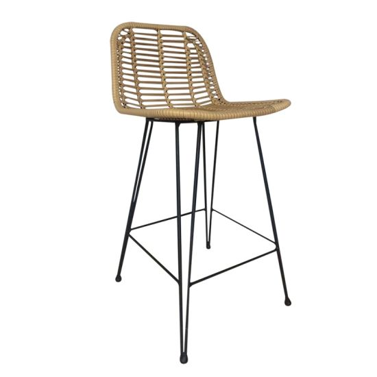 Wholesale Outdoor Furniture Rattan Bar Stool with Metal Legs