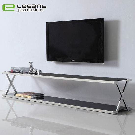 China Mat Black Iron Base Painted Tempered Glass Tv Stand