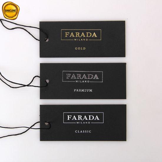 Sinicline Luxury Bespoke Black Hang Tags Garment Logo Tags