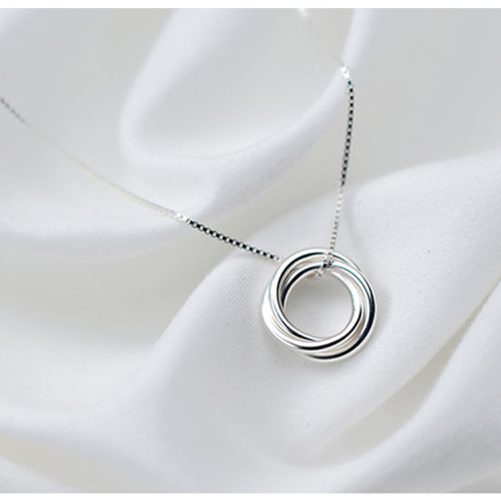 925 Sterling Silver Necklace AAA Three Circle Necklace Fashion Jewelry
