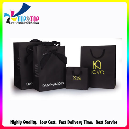 Custom Black Printed Gift Shopping Packaging Luxury Paper Bag with Ribbon