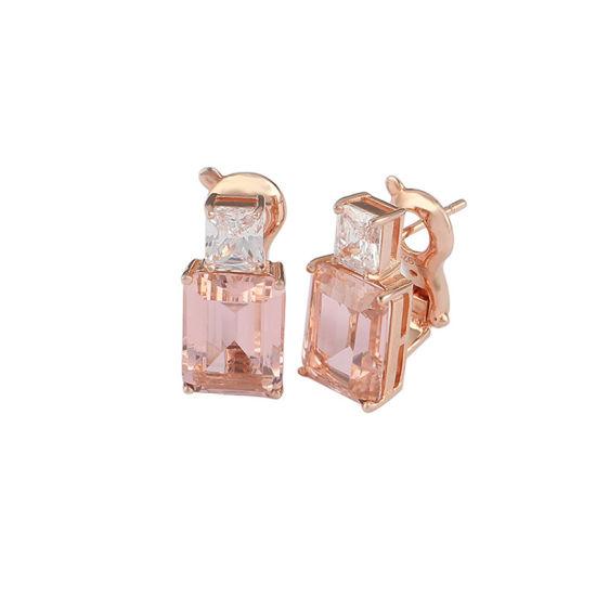 Rose Gold Fashion Jewelry 925 Sterling Silver Morgan Diamond Earrings