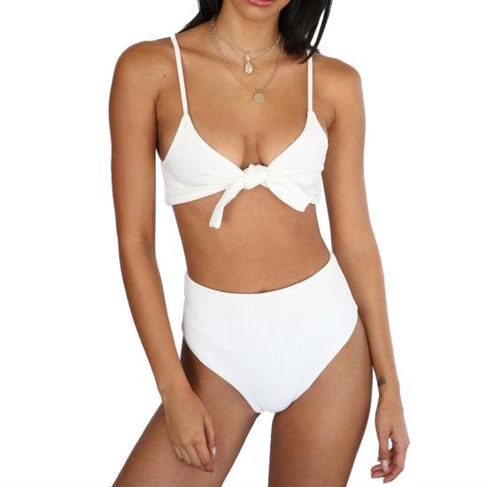 Women's Solid Color Sexy Bikinis Summer Holidays High Waist Beach Swimwear Clothing