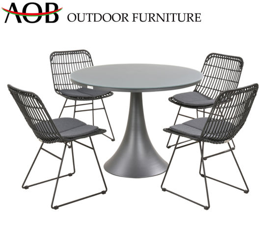 Chinese Outdoor Patio Hotel Bar Restaurant Home Furniture All Weather Poolside Iron Dining Set