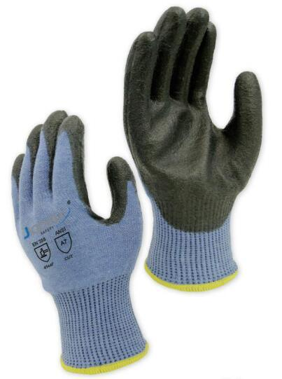 13 Gauge Light Blue ANSI Cut Level A8/ ISO 13997 Cut Level F Safety Glove, with Black PU Coating on Palm