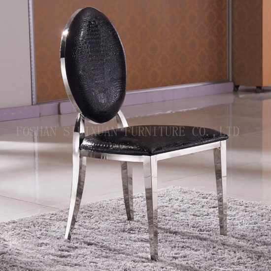 Luxury Design Black PU Leather Round Back Banquet Stainless Steel Dining Chair & China Luxury Design Black PU Leather Round Back Banquet Stainless ...