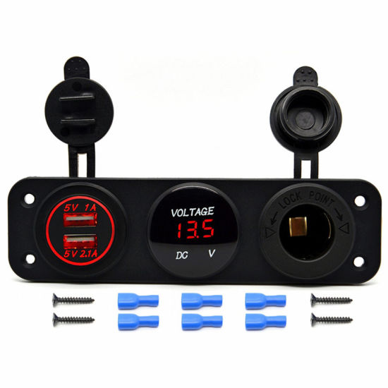 Tent Type Universal Power Outlet 5V 3.1A Dual USB Car Charger Sockets with LED Digital Display Panel Monitor Voltmeter Voltage Meter Gauge for Boat / RV / C