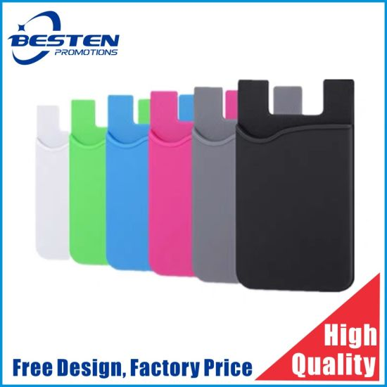Hot Selling 3m Adhesive Mobile Phone Sticky Silicone Smart Card Holder