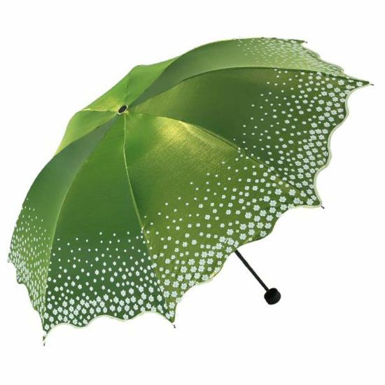 09fec36189e7 Fashion Windproof Three Folding Anti-UV Flowers Women Parasol Umbrella
