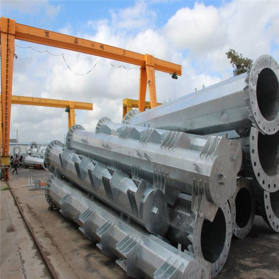 Electric Power Transmission Galvanized Steel Pipe Pole Tower