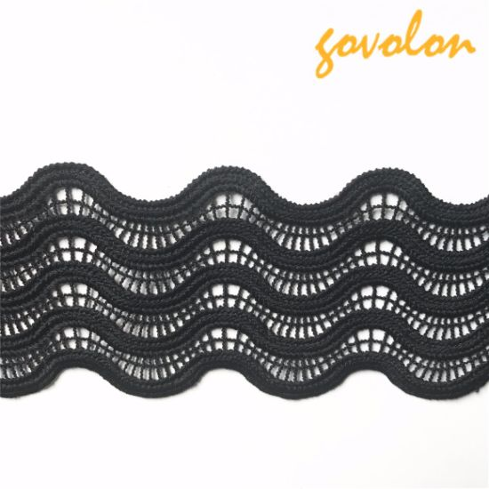 Black Wave Polyester Trim Lace Fabric pictures & photos