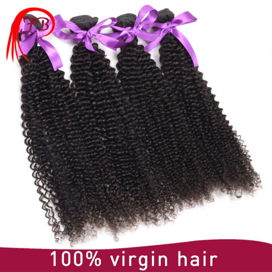 100% Virgin Brazilian Human Hair Kinky Curl Hair Weaving pictures & photos