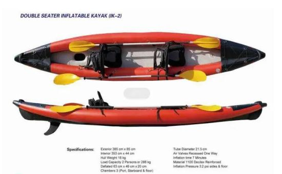 Double Seater Inflatable Fishing Kayak with Dropstitch Bottom 3.85m