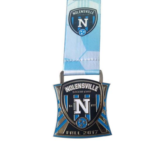 3D Double Logo Football Ribbon Lanyard Sports Meeting Medal