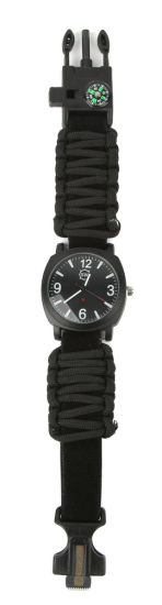 Adjustable Waterproof Noctilucence Survival Watch with Fire Starter Whistle Compass