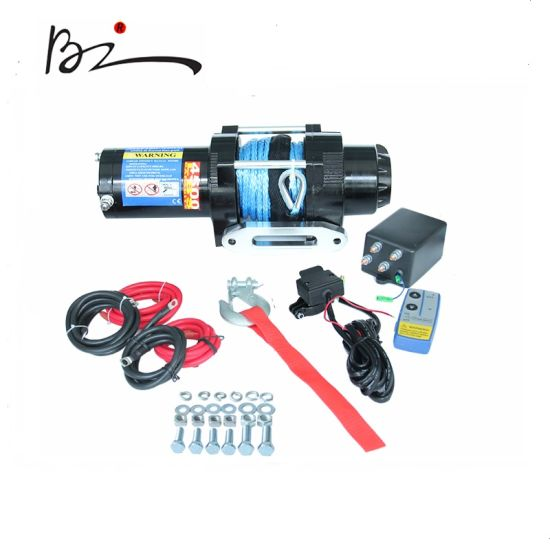 Ce Proved 12V & 24V Pulling Winch with Synthentic Line 4500lb