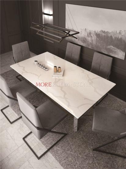 Custom White Calacatta Quartz Stone Top Dining Table for Sale