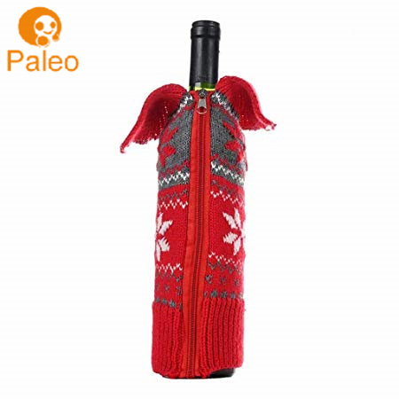 Christmas Knitted Snowflake Wine Bottle Sweater Bottle Cover Decoration with Zipper