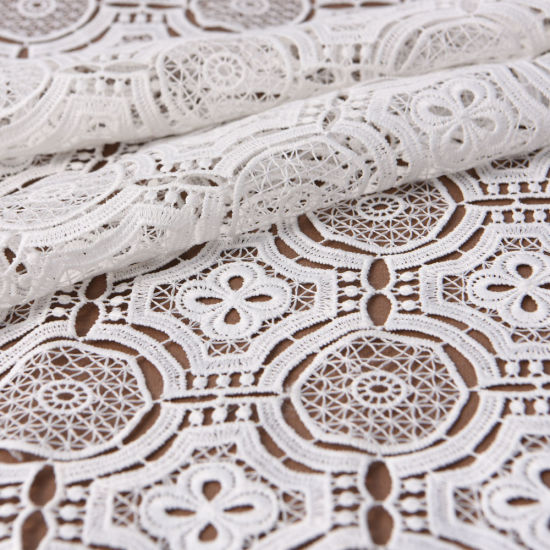Recycled Polyester Geometry Embroidered Dressmaking Lace Fabric