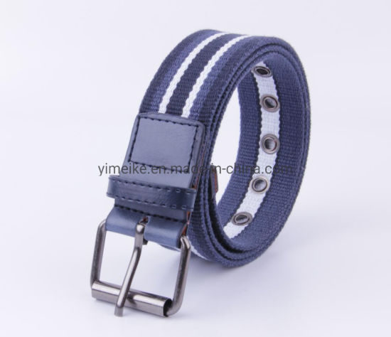 Popular New Striped Design Men Casual Canvas Polyester Fabric Belt