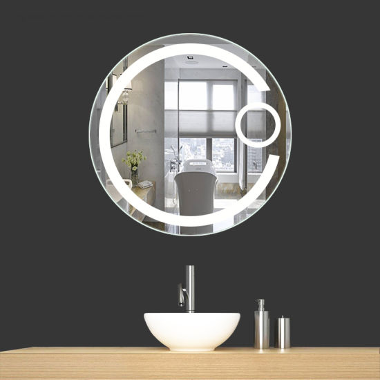 China D70cm Bathroom Decorative Wall Mounted Round Led Lighted Mirror With Magnify Mirror China Mirror Magnify Mirror
