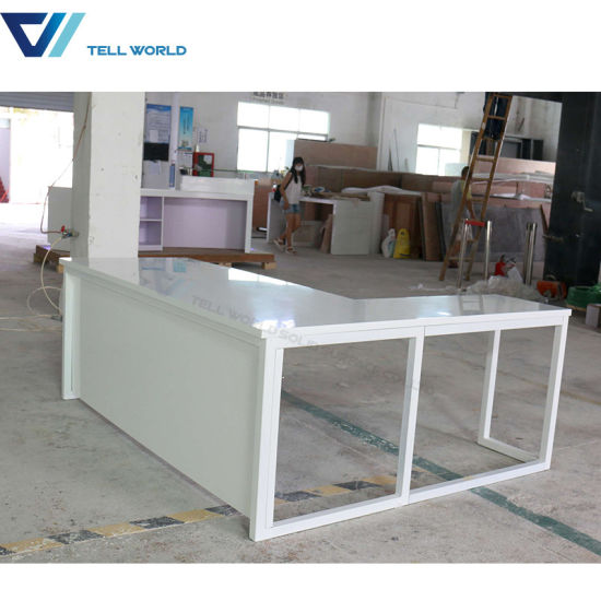Marble Stone Top Two Sided Office Furniture Computer Manager Office Desk  White Simple Office Table