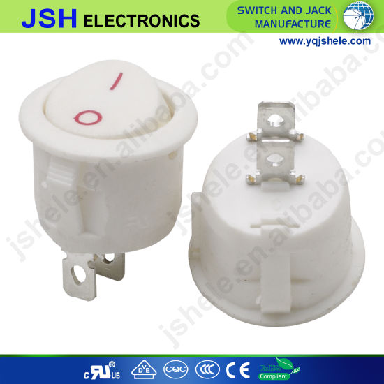 Kcd1 White Round Rocker Switch with 2 Pin