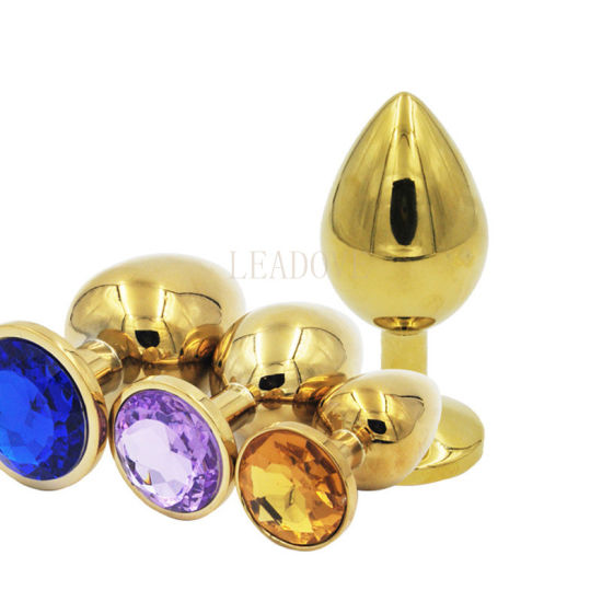 Mini Size Gold Metal Crystal Jewelry Anal Butt Plug, Anal Hole Sex Toys Stopper 70X28mm Adult Sex Toys Products pictures & photos