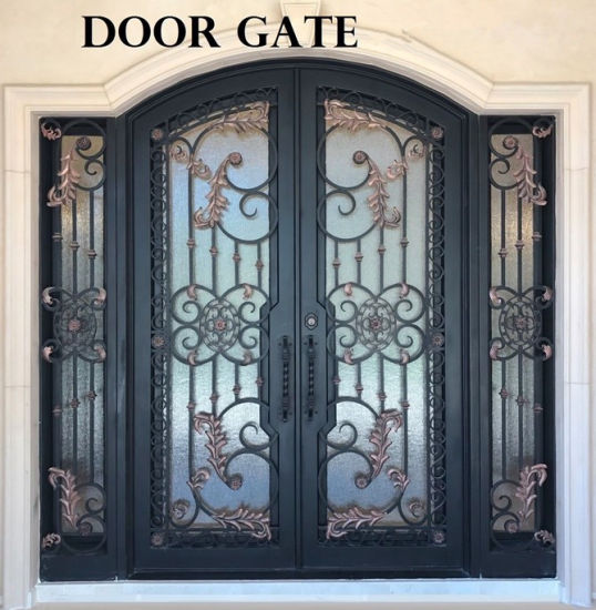 China Wrought Iron Front Entry Doors With Tempered Glass China