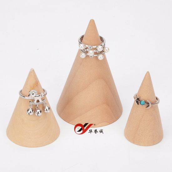 3 PCS/ Set Cone Shape Original Wood Ring Display Holder pictures & photos