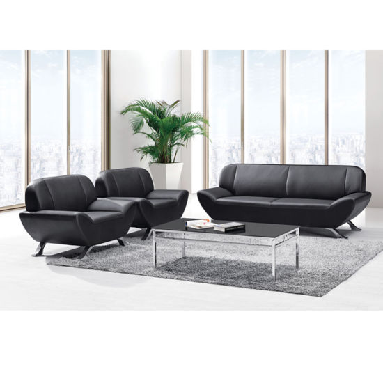 French Type Black PU Sofa Seating For Office Reception Area