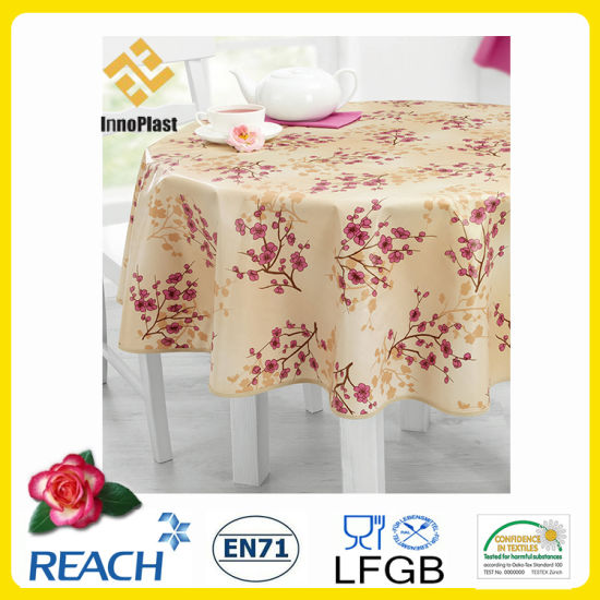 PVC Printed Tablecloth/Oilcloth LFGB Oko-Tex Wholesale China Factory