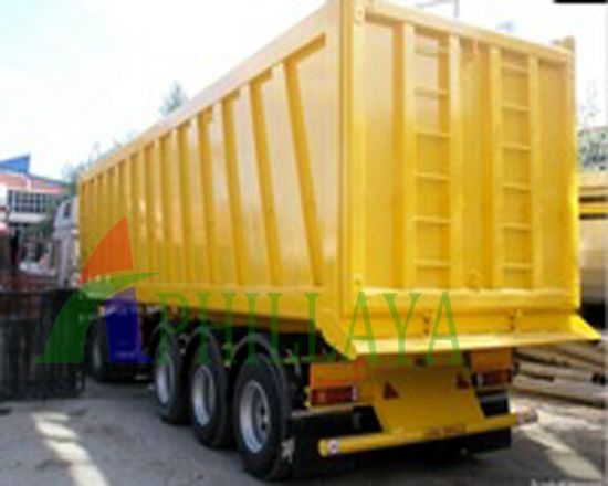 Box Body Cargo Hydraulic Tipping Semi Trailer pictures & photos