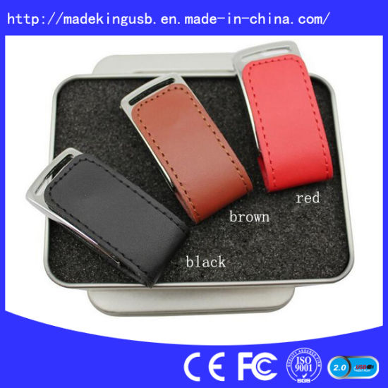 Customized Logo Leather USB Flash Drive pictures & photos