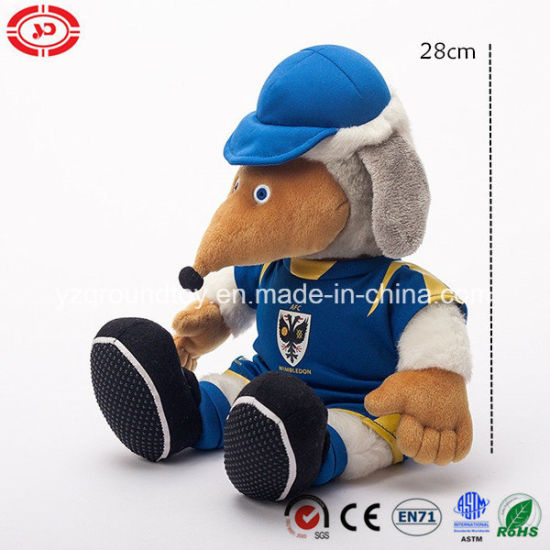 Plush Sitting Animal Quality Soft Stuffed Player with Coat Toy