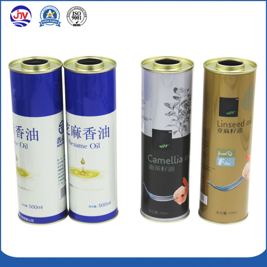 Round Metallic Tin Can Packaging for 500ml Olive Oil