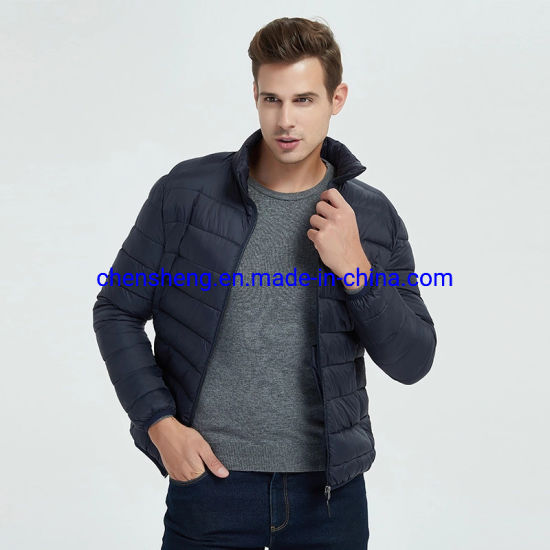 Stock Wholesale Customized Men Male Fashion Classic Cotton Fake Down Windproof Waterproof Jacket for Hoodie Warm Winter