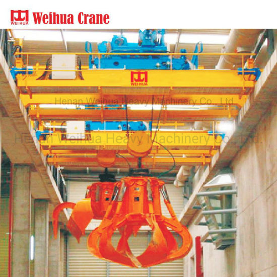 Weihua Workshop Equipment 20 Tons Double Beam Girder Grab Bucket Overhead Bridge Crane