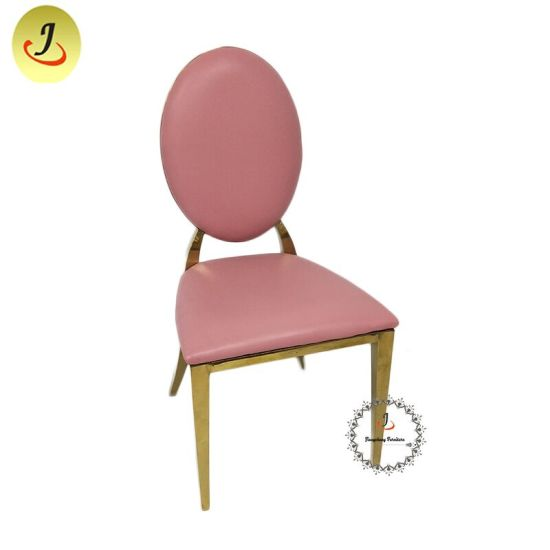 Wholesale Stainless Steel Round Back Dining Chair for Wedding Banquet