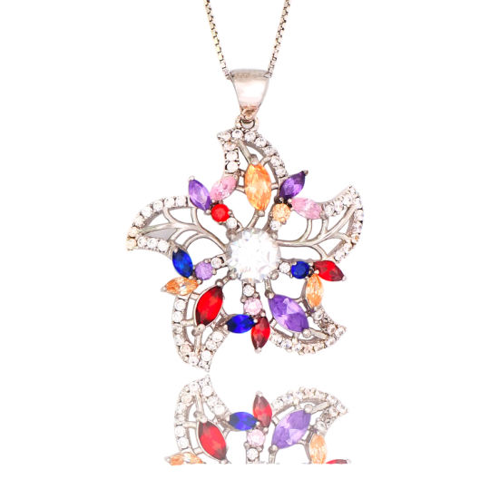 Multi Stone Jewellery Set Zirconia Crystal Flower Pendant Necklace Earring Sets Gift for Women