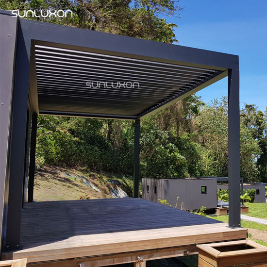 Sun Shade Outdoor Gazebo Bioclimatic Aluminium Pergola Swimming Pool  Louvered Cover