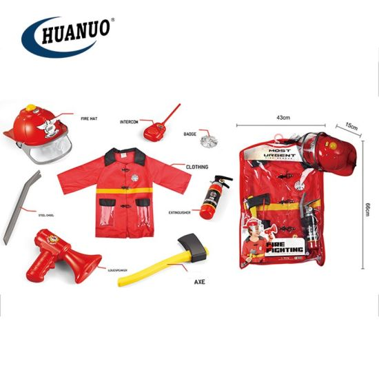 Kids Role Play Toy Fireman Combination Costume with Fire Cap pictures & photos