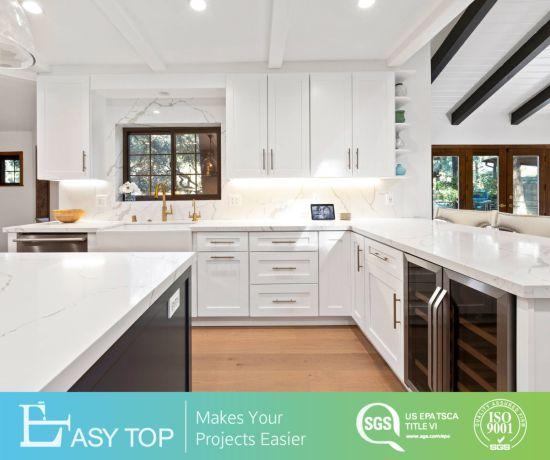Simple Design Shaker Style White Membrane PVC Kitchen Cabinets