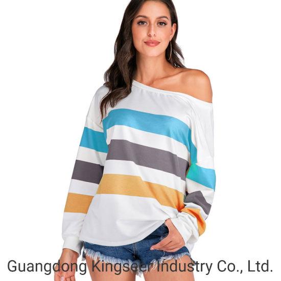 Wholesale China Factory Fashion Design Women off Shoulder Top Sey Boat Neckline Rainbow T Shirt