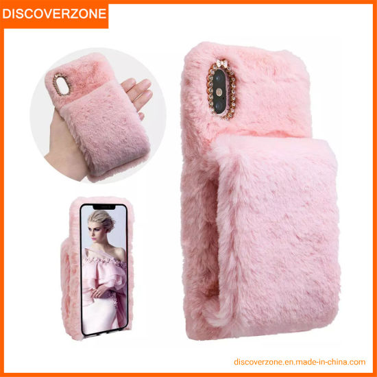 Rabbit Hair Fur Wristband Phone Case Warm Fur iPhone Cover Soft