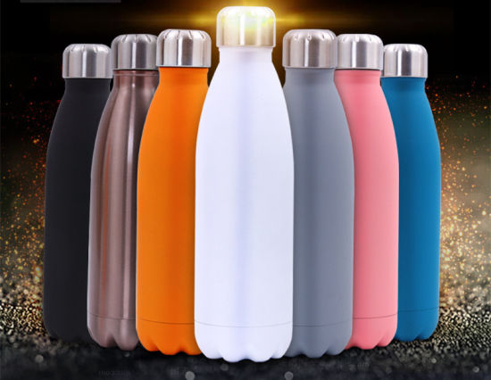 Pure Color Double Wall Stainless Steel Thermos Vacuum Insulated Sports Drinking Water Bottle