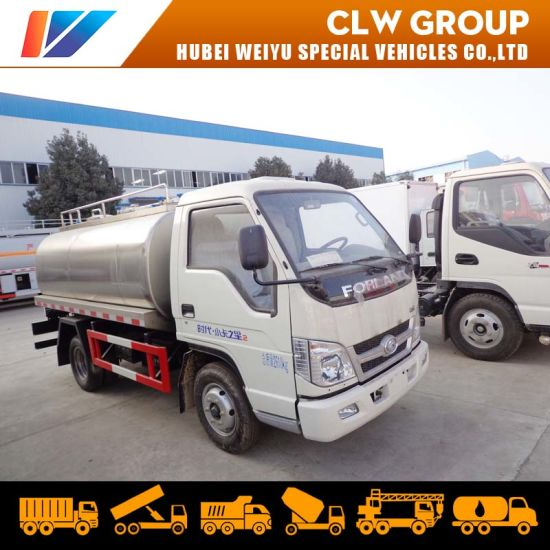 4X2 Stainless Steel Water Tank Fresh Milk Tanker Truck Insulated Milk Tank Truck 5000L Milk Transport Truck pictures & photos