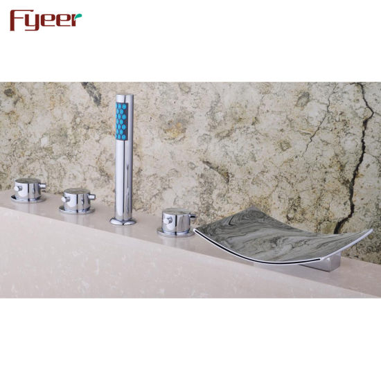 5 Hole Deck Mount Tub Faucet With Hand Shower.Fyeer Deck Mount 5 Holes Bath Shower Faucet With Hand Shower
